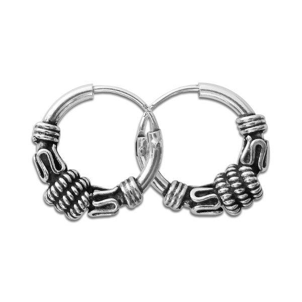 Creolen Bali 12 mm 925 Silber Gothic Ohrringe