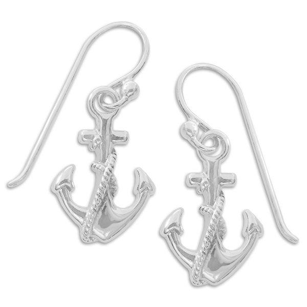 Ohrringe Anker mit Seil Ohrhaken geschwärzt 925 Silber