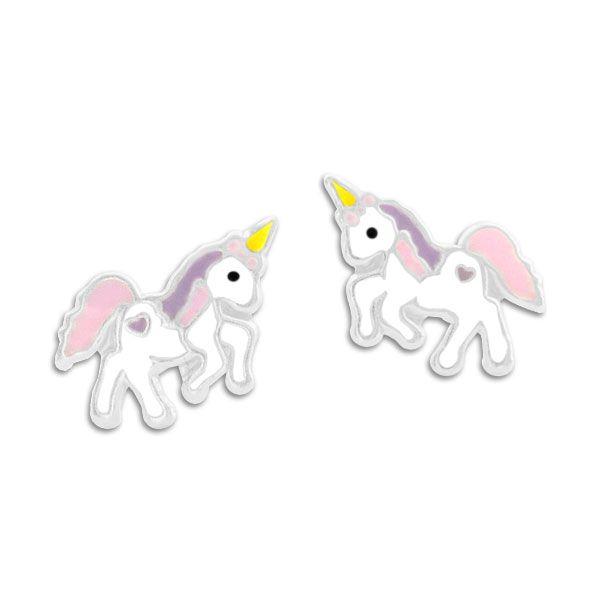 Ohrstecker Einhorn pastell rosa und lila 925 Silber Kinderohrringe
