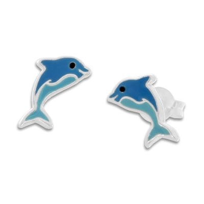 Blaue Delfin Ohrstecker für Kinder 925 Silber Kinderohrringe