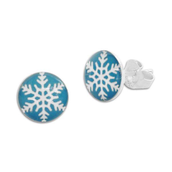 Runde Ohrstecker mit Schneeflocke Eiskristall 925 Silber