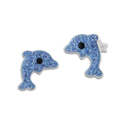 Delfin Ohrstecker blau mit Strass 925 Silber