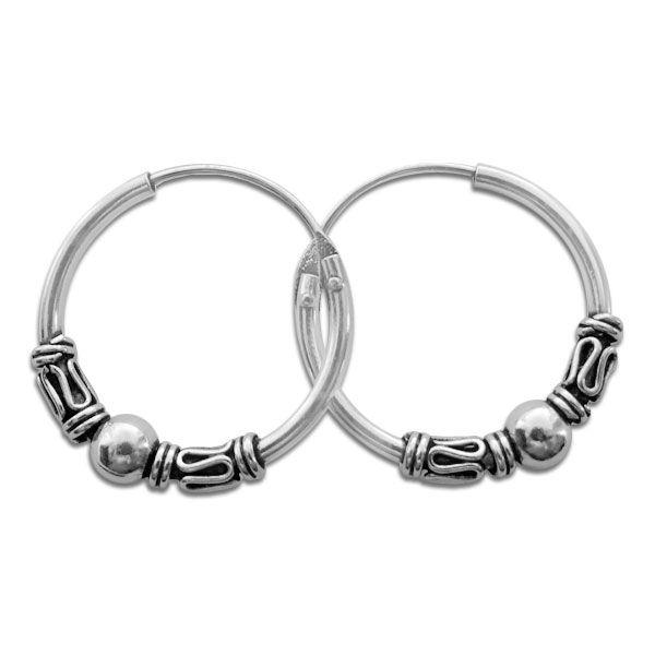 16 mm große Gothic Creolen Ohrringe mit Kugel 925 Silber