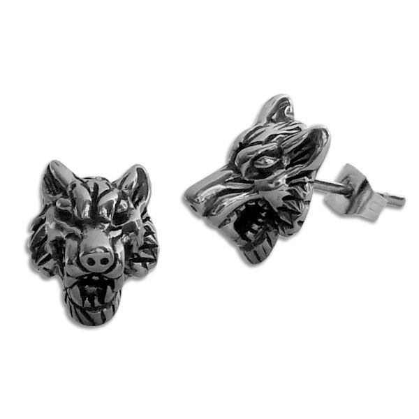 Edelstahl Ohrstecker Wolfskopf 3D Ohrringe groß