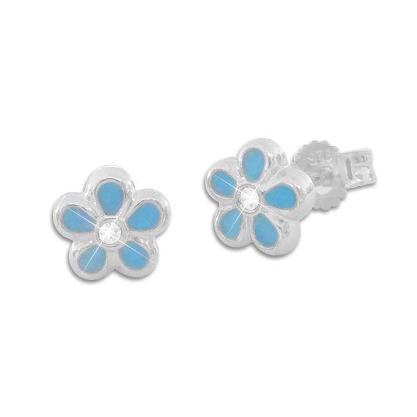 Blumen Ohrstecker hellblau 925 Silber Mädchen Ohrringe