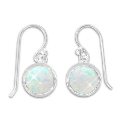 Opal Ohrringe Ohrhaken mit runden Steinen 925 Silber