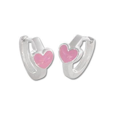 Herz Creolen für Kinder rosa 925 Silber Mädchen Ohrringe