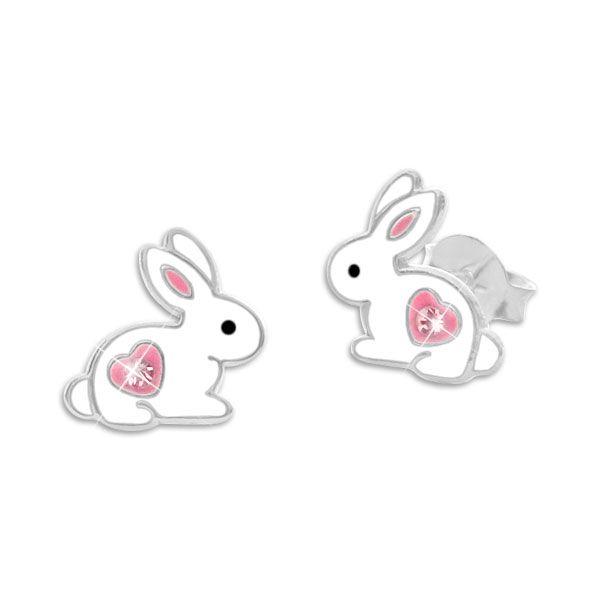 Kaninchen Ohrstecker mit rosa Herz und Strass Stein 925 Silber Hasen Ohrringe
