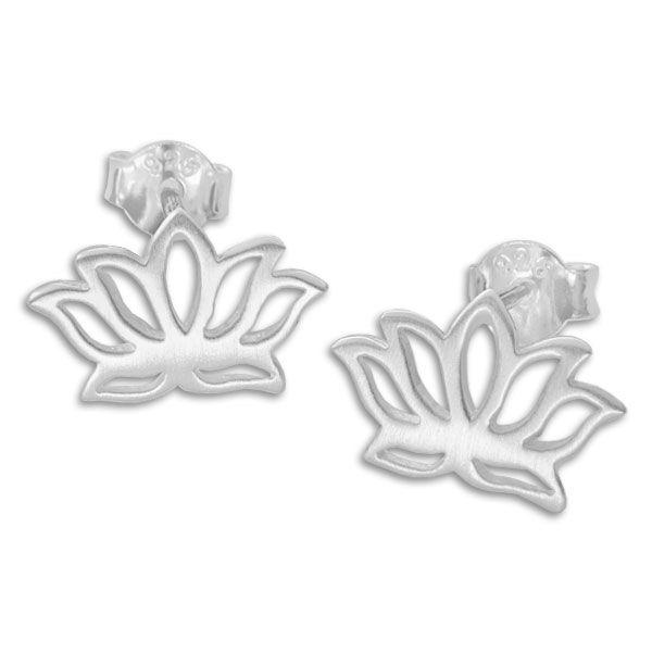 Ohrstecker Lotusblume mattiert 925 Silber Lotusblüten Ohrringe