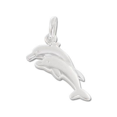 Delfin Paar Anhänger matt-glänzend 925 Silber