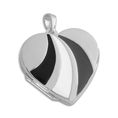 Herz-Medaillon Anhänger mit Lack-Einlagen 925 Silber