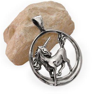 Einhorn im Kreis Anhänger 925 Silber