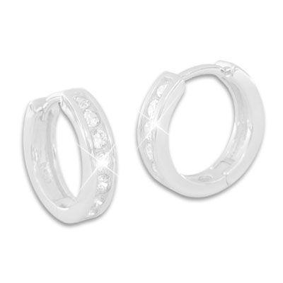 Klapp-Creolen mit 8 weißen Zirkonia Strass Steinen 925 Silber