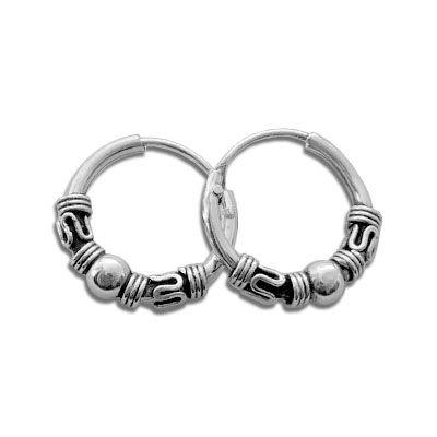Silberschmuck Creolen Ohrringe mit Kugeln 925 Silber 12 mm