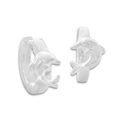 Ohrringe Delphin Klapp-Creolen glänzend 925 Silber