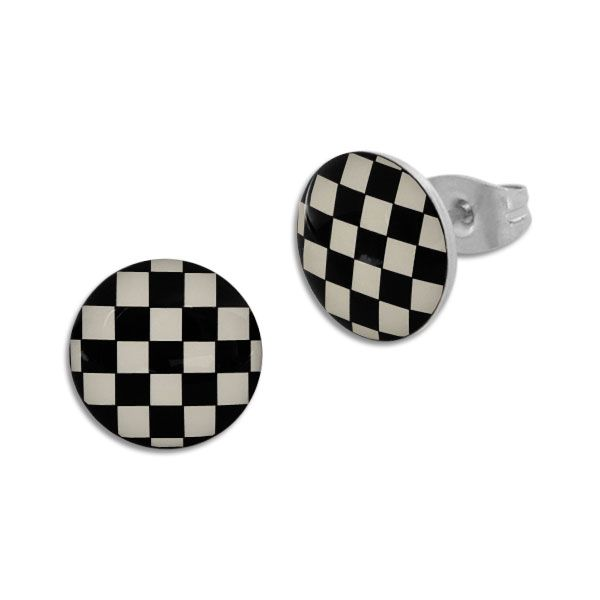 Runde Ohrstecker Schachbrett Muster schwarz cremeweiß 10 mm Edelstahl
