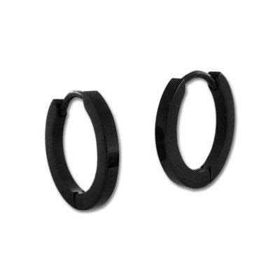 Schmale Klapp-Creolen Edelstahl schwarz glänzend 16 mm
