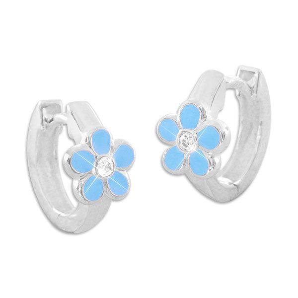 Kinder Creolen mit blauen Blumen und weißen Zirkonia 925 Silber Mädchen Ohrringe