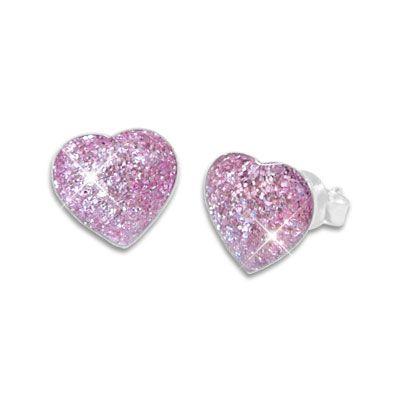 Glitzer Ohrstecker mit Herzen lila violett 925 Silber