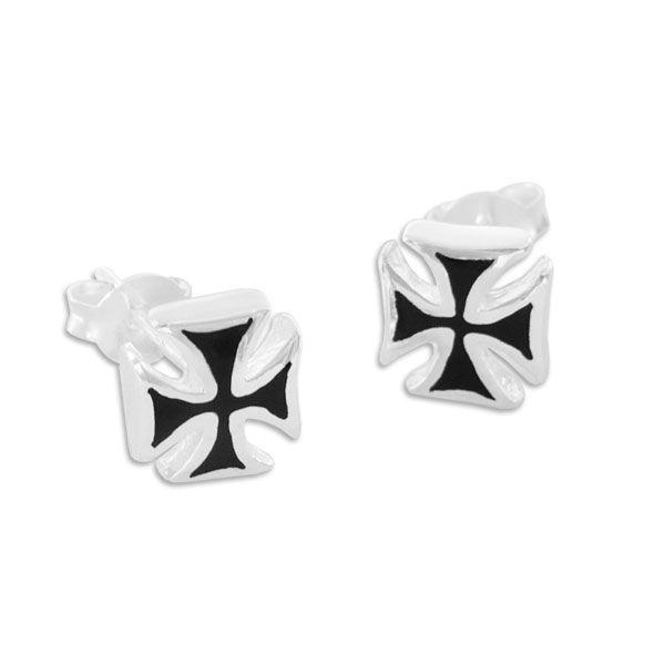 Männer Ohrringe Eisernes Kreuz 925 Silber Ohrstecker