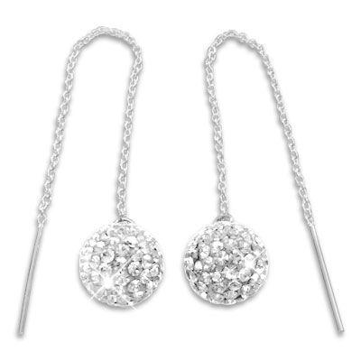 Damen Ohrringe Durchzieher mit XXL 3D Kugel weißer Strass 925 Silber
