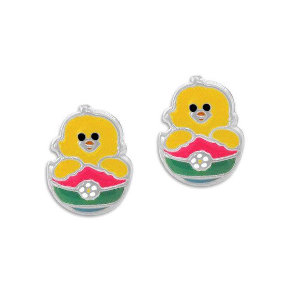 Ohrstecker Küken im Osterei 925 Silber Geschenk für Kinder zu Ostern
