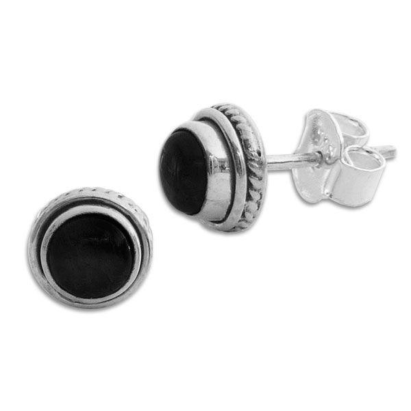 Onyx Ohrstecker rund mit filigranem Rand 7,5 mm 925 Silber Onyx Ohrringe