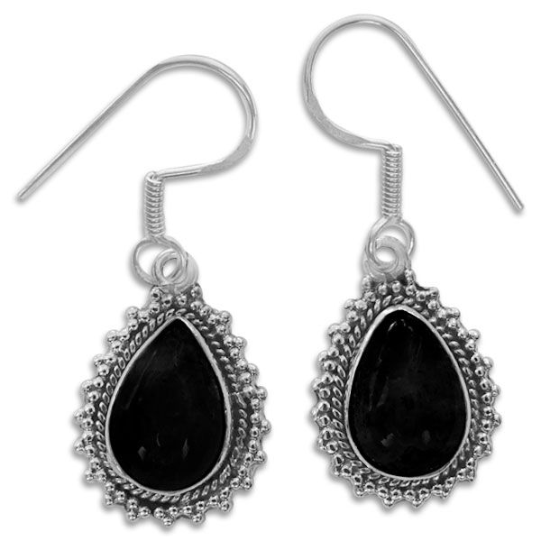 Tropfen Onyx Ohrringe mit filigranem Rand 925 Silber schwarze Steine