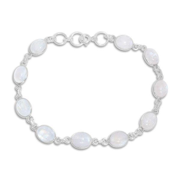 Regenbogen Mondstein Armband 925 Silber 20 cm, 21 cm Länge