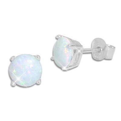 Ohrstecker Opal mit Krappenfassung 6 mm 925 Silber