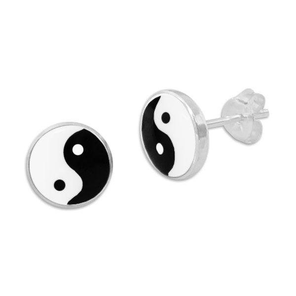 8 mm Ohrringe mit Yin Yang Symbol 925 Silber große Ohrstecker