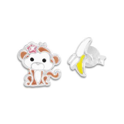 Kinder Ohrstecker Affen Mädchen und Banane 925 Silber Geburtstagsgeschenk