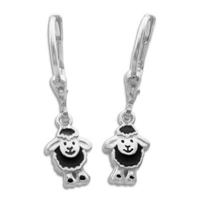 Ohrringe Ohrhänger schwarzes Schäfchen 925 Silber