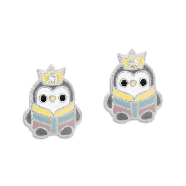 Ohrringe Pinguin mit Krone und Strass Stein 925 Silber Ohrstecker