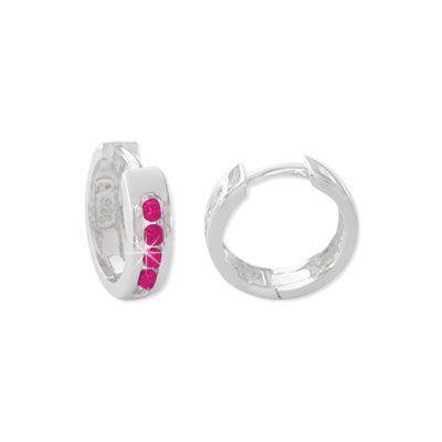Damen und Mädchen Klapp-Creolen mit rubin roten Strass Steinen 925 Silber