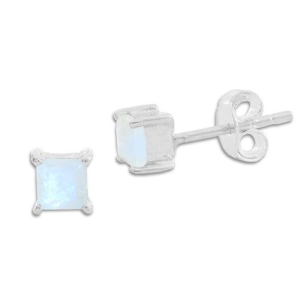 Ohrringe mit Mondstein facettiert viereckig 5 mm 925 Silber