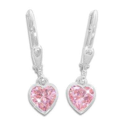 Kinder Herz Ohrringe hängend rosa 925 Silber