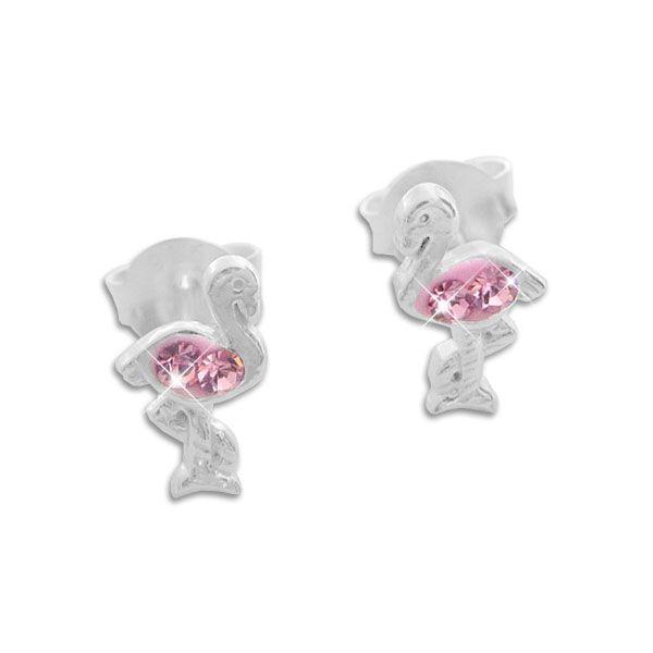 Ohrstecker Ohrringe Flamingo mit rosa Strass Steinen 925 Silber