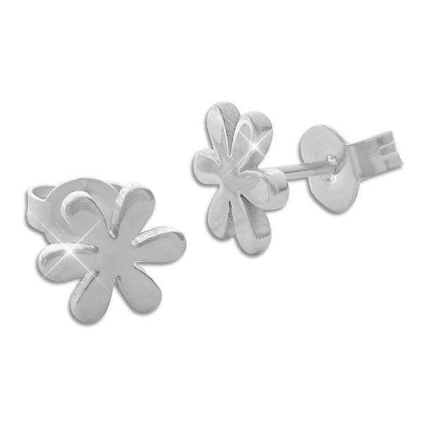 Edelstahl Ohrstecker Ohrringe Blume 8 mm