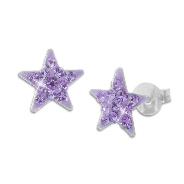 Mädchen Ohrstecker lila Sterne mit Strass Kristallen 925 Silber