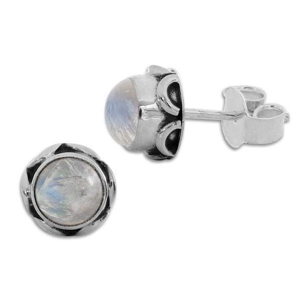 Mondstein Ohrringe rund mit filigranem Rand 8,5 mm 925 Silber