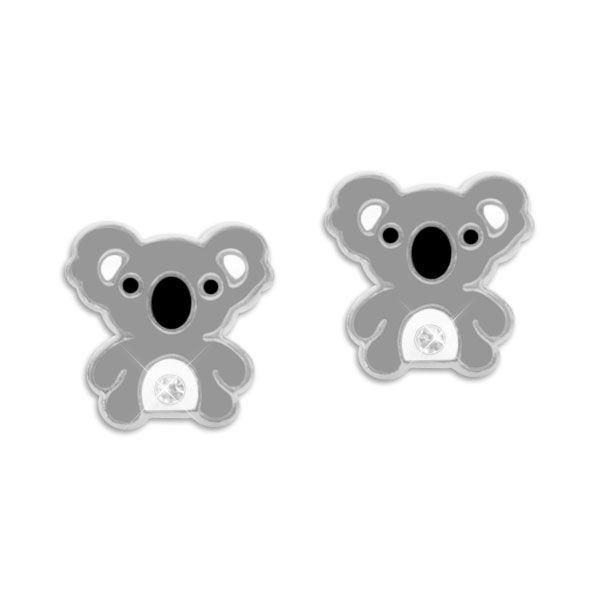 Kinderschmuck Koala Ohrstecker mit Kristallen 925 Silber Ohrringe mit Koalabären