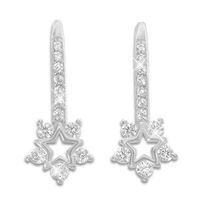 Ohrringe Sterne mit Klapp-Brisur und Zirkonia Steinen 925 Silber
