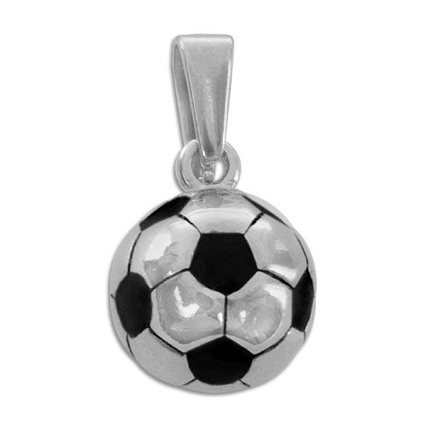 Fußball Anhänger Edelstahl rund 14 mm