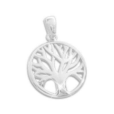 Runder Anhänger mit Baum des Lebens 14 mm 925 Silber