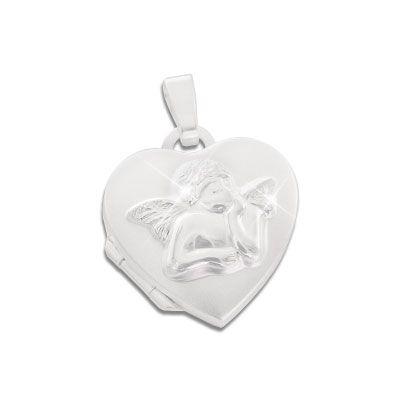 Herz Medaillon für Mädchen mit Engel 925 Silber