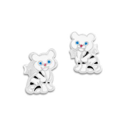 Weißer Tiger Ohrstecker 925 Silber Katzen Kinder Ohrringe