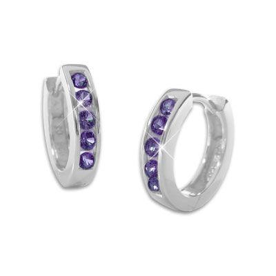 Creolen mit lila Zirkonia Steinen 14,5 mm 925 Silber Ohrringe für Damen