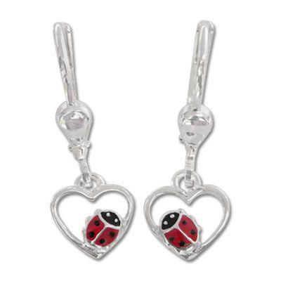 Marienkäfer Herz Ohrringe 925 Silber Mädchenschmuck Geschenk