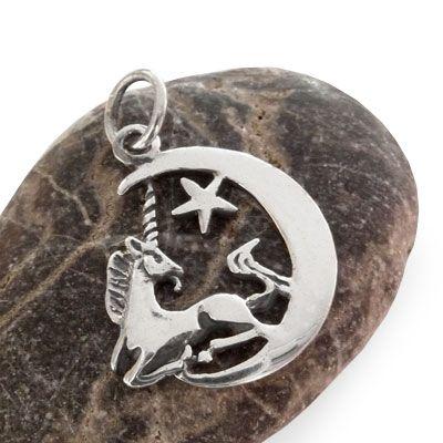 Silberanhänger Einhorn im Mond 925 Silber